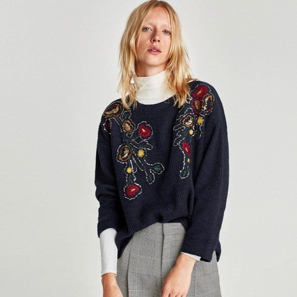 63d57cd5962  ZARA  Floral Embroidered Knit Sweater